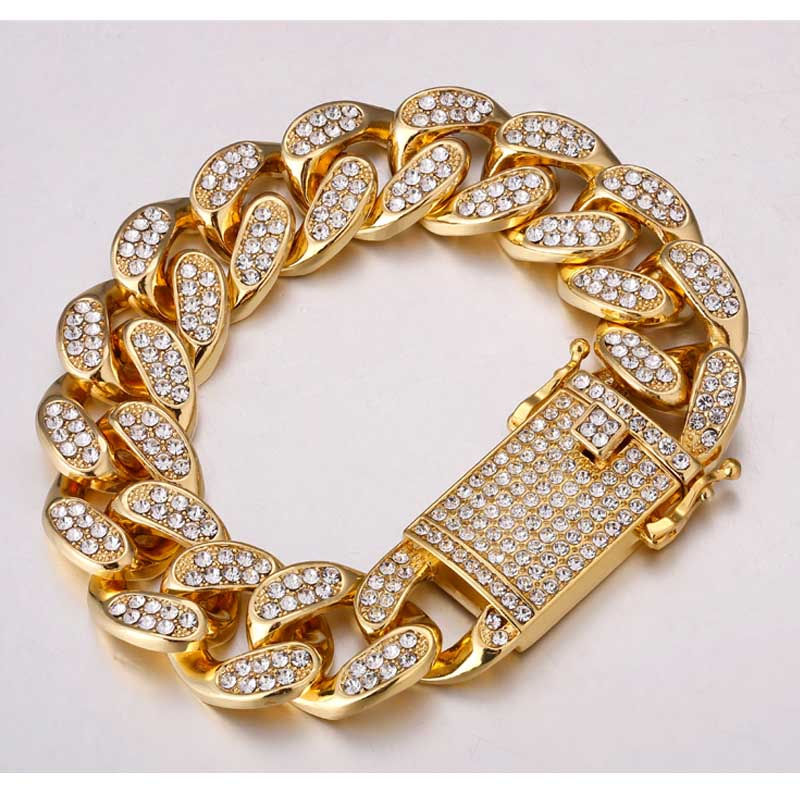 Clearance SaleRhinestone Bracelet Gold-Chain Necklace Jewelry Rapper Hip-Hop 20mm Domineering Miami