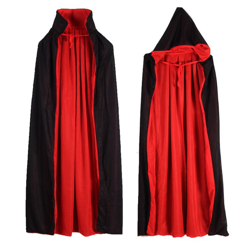 Vampire Cloak Cape Stand up Collar Cap Red Black Reversible for Halloween Costume Themed Party Cosplay Men Women| |   - title=