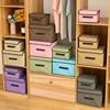 Foldable Storage Bins cotton linen Storage Box With lid Clothes Socks Toy Snacks Sundries organizer Cosmetics storage basket