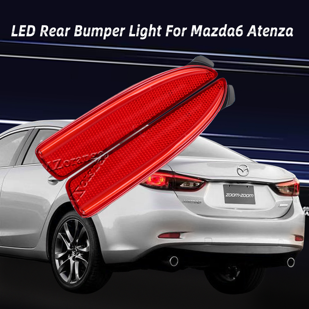 MZORANGE Car-styling 2PCS LED Rear Bumper Reflector Brake Stop Light for Mazda6 Atenza For Mazda2 DY for <font><b>Mazda3</b></font> Axela (CA240) image