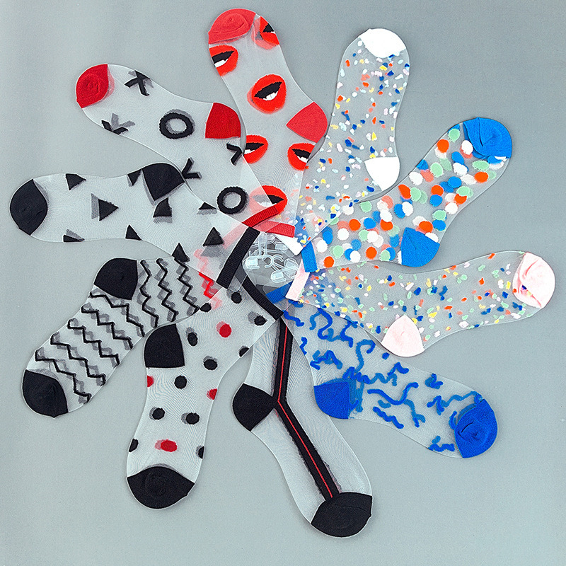 New Spring&Summer 10Pairs Transparent Thin Fashion Women Glass Silk Crystal Ankle Socks Colorful Dot Wave Socks Wholesale