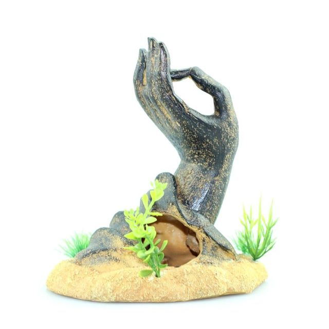 Fish Tank Decorations Buddha Hand Statue Aquarium Ornaments PXPC