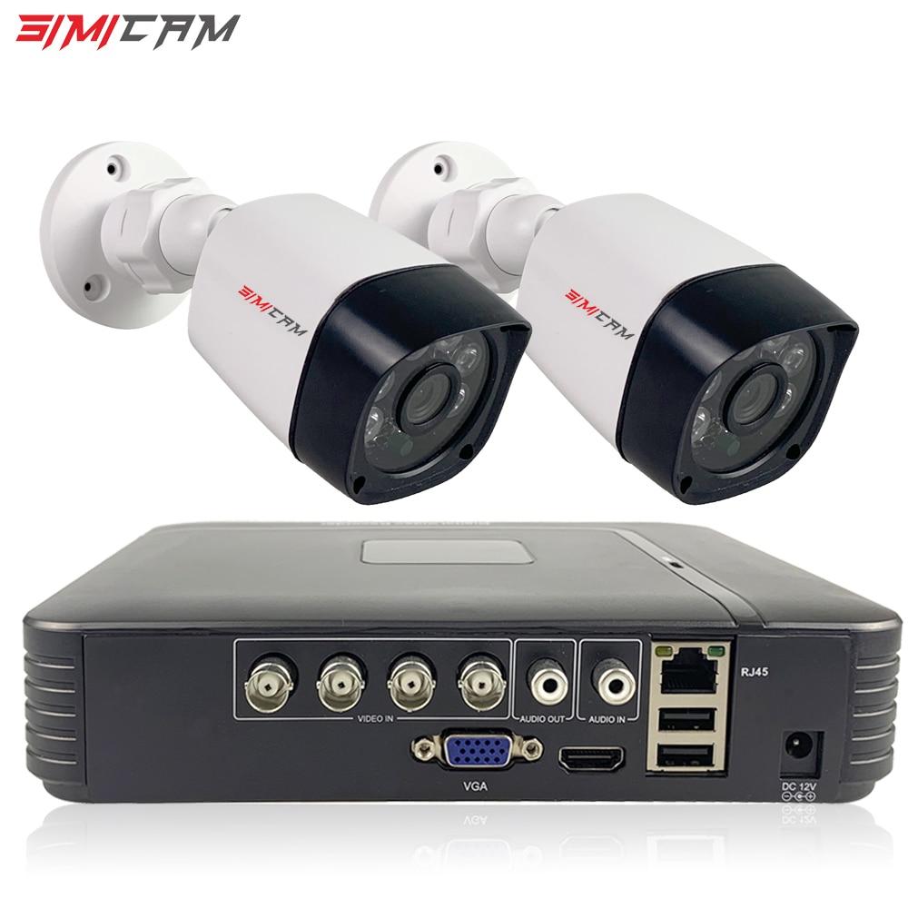 HD 4CH 1080N 5in1 AHD DVR Kit CCTV System 2pcs 720P/1080P AHD Waterproof/bullet Domo Camera 2MP P2P Security Camera System Set