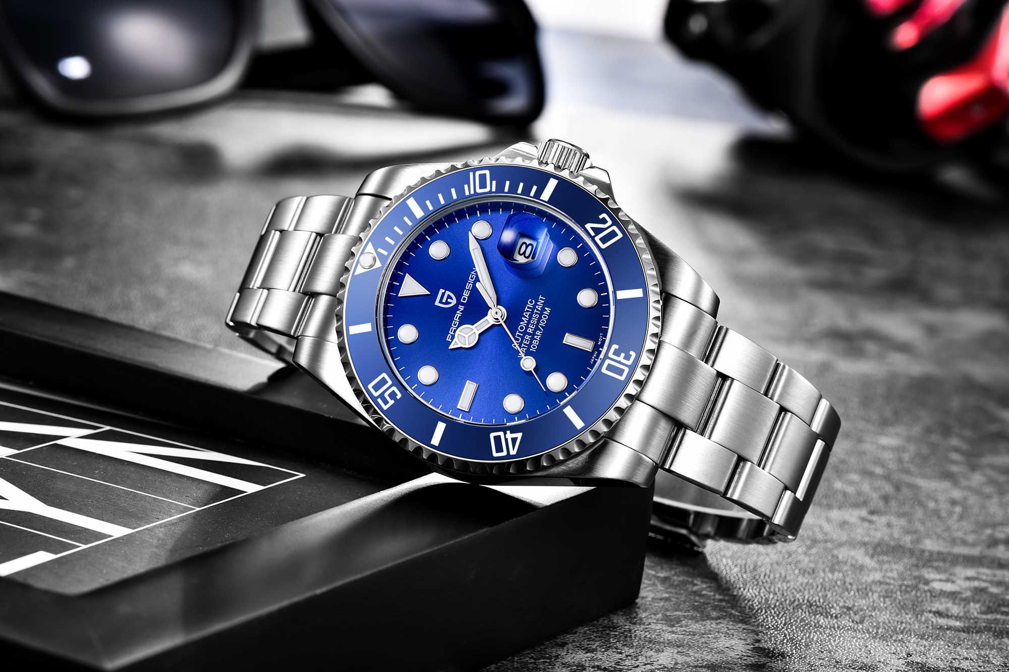 Marca de diseño PAGANI relojes de lujo para hombre, reloj de pulsera de zafiro mecánico automático resistente al agua para negocios, correa de acero inoxidable