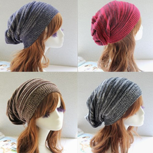 цена на New Women's Winter Hat 2019 Fashion Knitted Hats Baggy Oversized Slouch Striped Hat Hip Hop Caps Mens Casual Knitted Beanie Cap