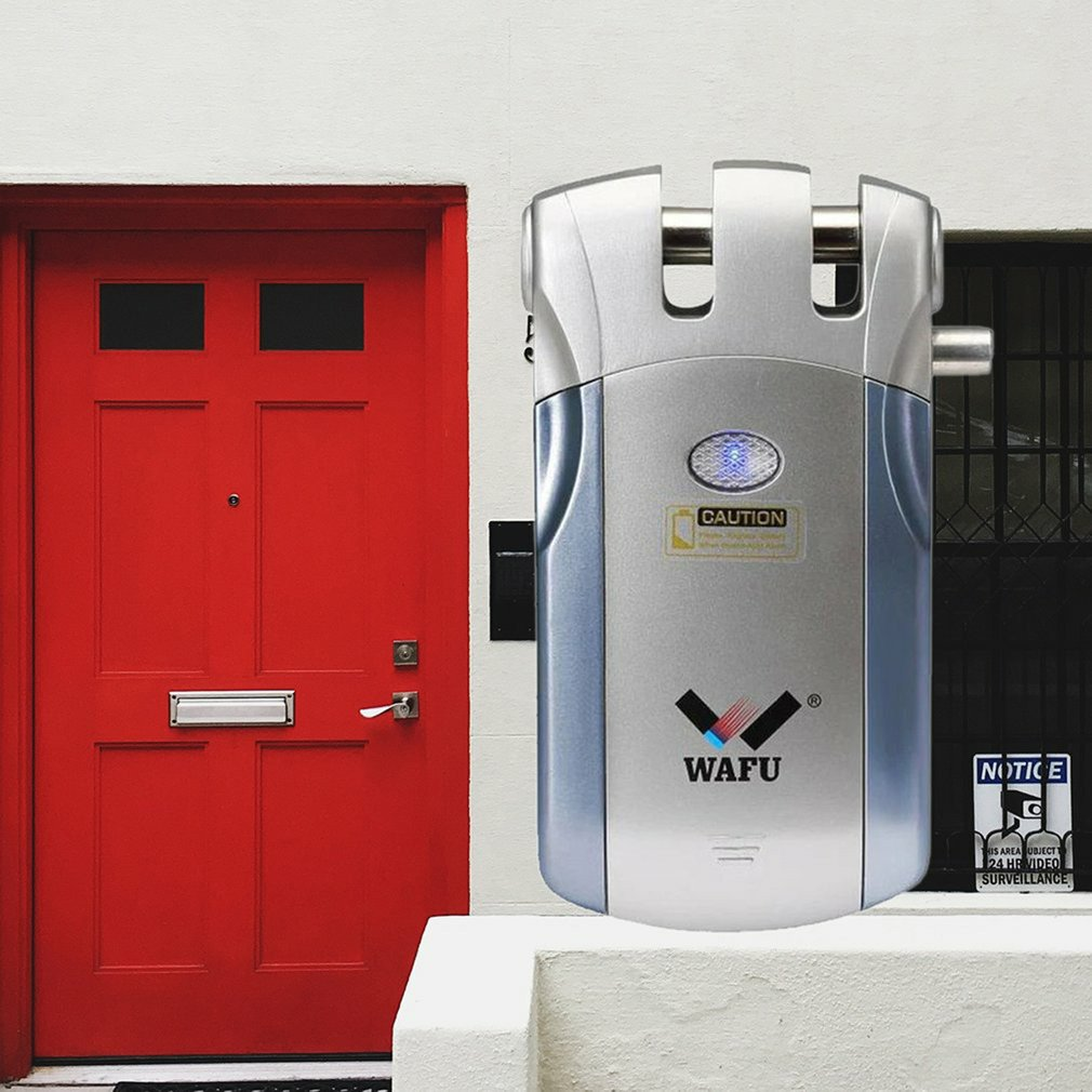 lowest price Wafu WF-019Electric Door Lock Wireless Control With Remote Control Open  amp  Close Smart Lock Home Security Door Built-in Alarm