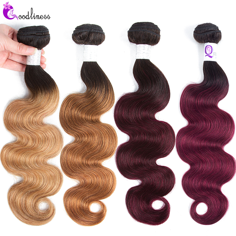 Goodliness 1/3/4 Bundles Ombre Blonde Brazilian Hair Weave Bundles 99J Burgundy Body Wave Bundles 100% Remy Human Hair Bundles