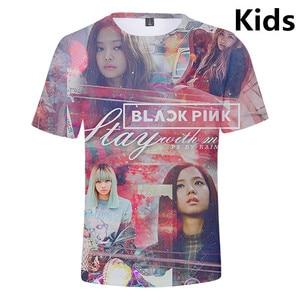 Детская футболка на возраст от 3 до 14 лет женская футболка с 3d принтом «Idol Group BLACKPINK» Футболки для мальчиков и девочек в стиле Харадзюку, kpop од...