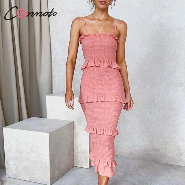 Conmoto ruches bodycon zomer jurk vrouwen spaghetti band strand plus size jurken lange jurk vestidos