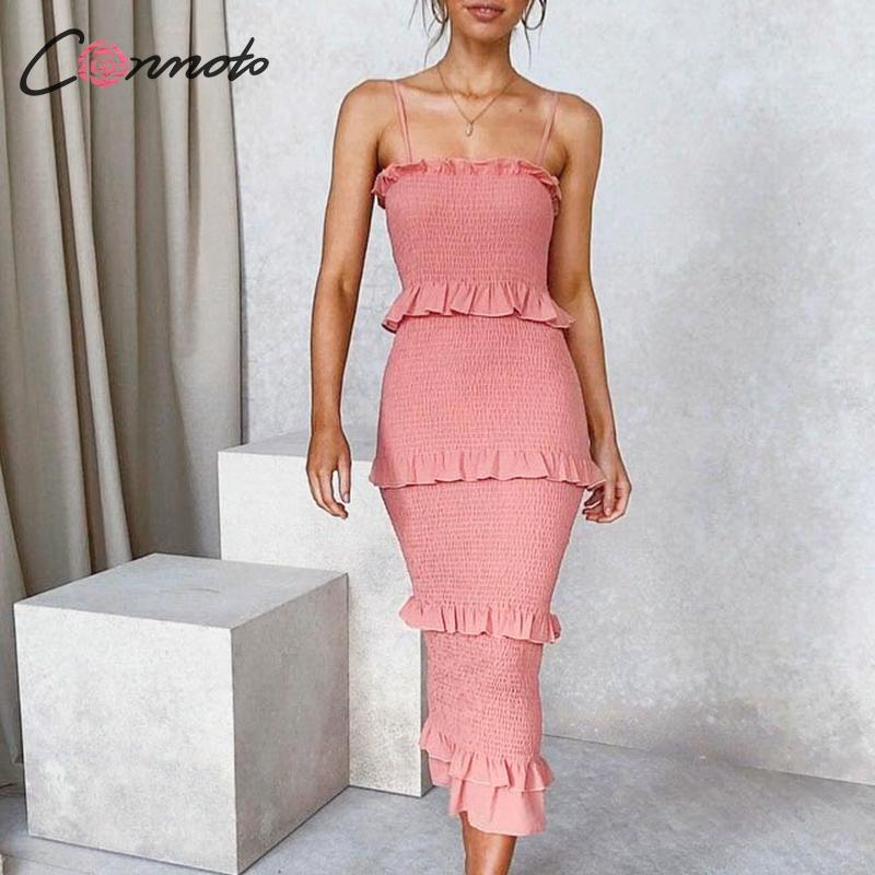 Conmoto ruffles bodycon summer dress women spaghetti strap beach plus size dresses long dress vestidosDresses   -