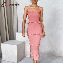 Conmoto volantes ajustado vestido de verano Mujer espagueti Correa playa vestidos de talla grande vestidos largos vestidos