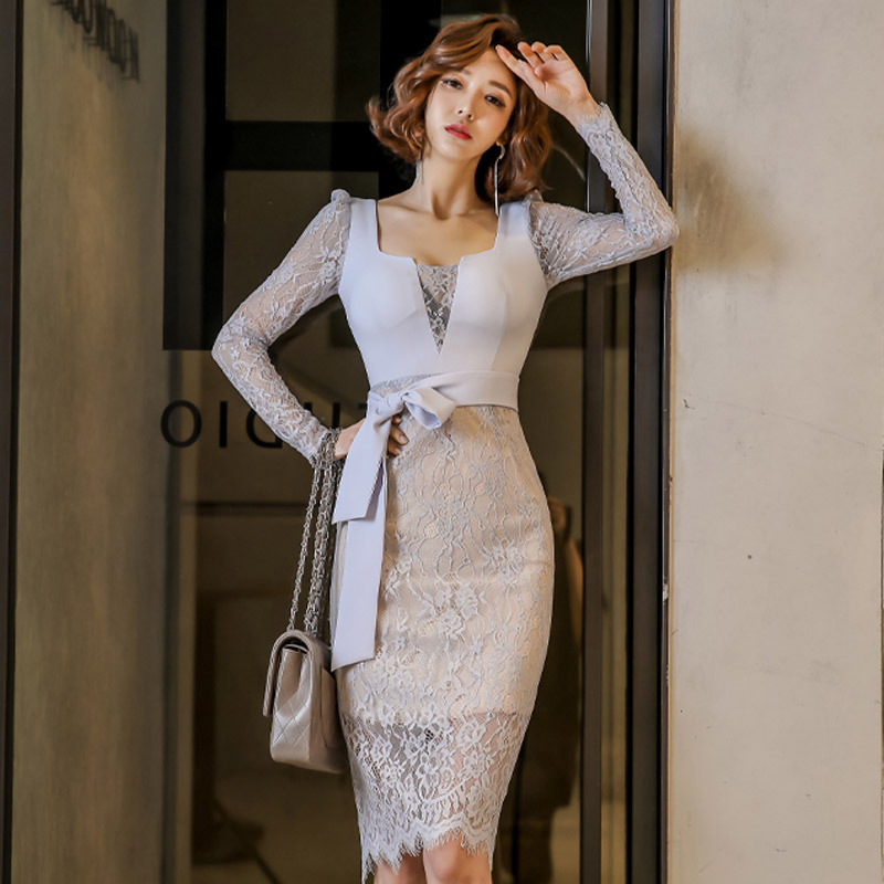 New Arrival Office Lady Fashion Bodycon Dress Women Elegant Summer Sexy Lace Perspective Vintage Temperament Pencil Dress