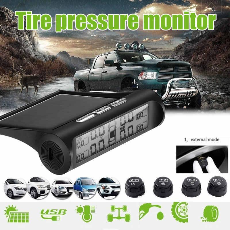 Smart Auto TPMS alarma Anti-explosión LCD pantalla Energía Solar Universal USB coche TPMS Sistema de Monitoreo de presión de neumáticos