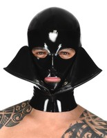 (Latex 35) New Style Butterfly Hood Latex Enclosure Fetish Mask For Men All zipped Latex MASK