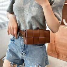 Weave Design PU Leather Small Fanny Packs for Women 2021 Summer New Fashion Ladies Waist Belt Bag Girls Shoulder Purses