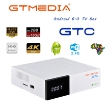 GTMEDIA GTC 4K אנדרואיד טלוויזיה תיבת קולטן DVB C כבל Youtube DVB S2 DVB T2 Bluetooth 4.0 מקלט לווין משפחה HD 1080P תיבה