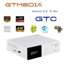 GTMEDIA GTC 4K 안드로이드 TV 박스 리셉터 DVB C 케이블 유튜브 DVB S2 DVB T2 블루투스 4.0 위성 수신기 패밀리 HD 1080P 박스