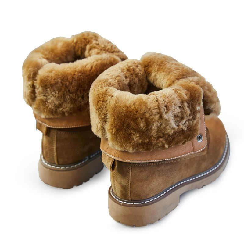 SWYIVY обувь на танкетке; зимние ботинки из натуральной кожи; женские зимние ботинки; коллекция 2019 года; зимняя женская обувь; женские ботинки на платформе с спилком из свиной кожи