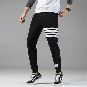 Pants men's Korean trend casual sports pants solid color loose high street pants men's jogging high quality knitted men's pants