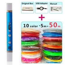 Myriwell 3d stylo + 10 couleurs * 5m ABS filament(50m), imprimante 3d pen 3d stylo magique, meilleur cadeau pour les enfants, soutenir lalimentation mobile,