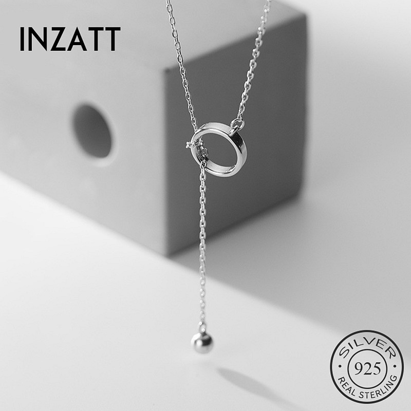 INZATT Echt 925 Sterling Silber Geometrische Runde Anhänger Choker Halskette Für Mode Frauen Edlen Schmuck Minimalistischen Zubehör