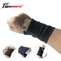 Double Side Badminton Tennis Sweatband Wrist Wallet Pouch Wrist Support Pocket Wristband Gym Cycling Running Phone Arm Band Bag