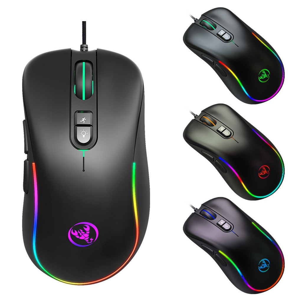 J300 Wired Gaming Mouse Seven-Key Macro Programming Mouse Six Adjustable DPI RGB Gaming Mouse Black