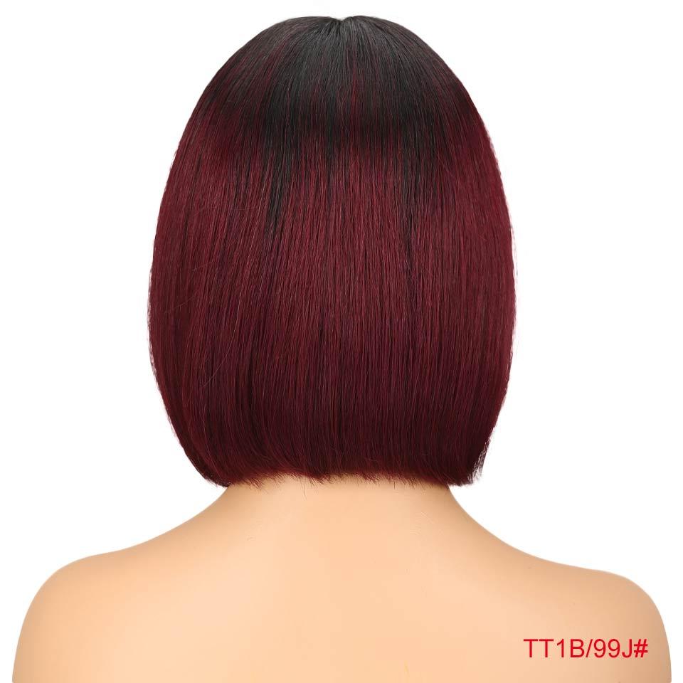"""Rebecca bob парики на кружеве для черных женщин перуанские короткие парики из человеческих волос Омбре человеческие волосы парик Средняя часть 1"""" - Цвет волос: T1B 99J"""