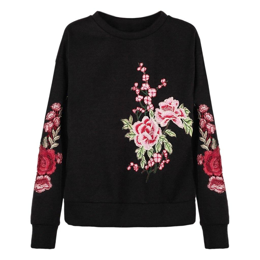 Jaycosin Fashion Women Simple Loose Round Neck Embroidery Flower Sweatshirt Stylish Long Sleeve Comfortable Casual Blouse 928#10