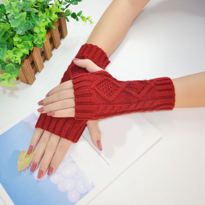 Fashion Solid Winter Gloves Women Knitted Fingerless Ladies Gloves Arm Warmer Mittens Women Glove Winter Warm Wrist With Wool