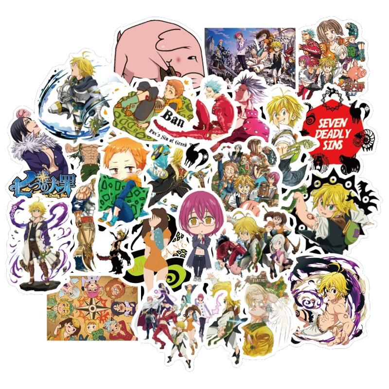 50PCS/lot Japan Anime Seven Deadly Sins Stickers Waterproof For DIY Guitar Laptop PS4 Skateboard Kids Toys Sticker