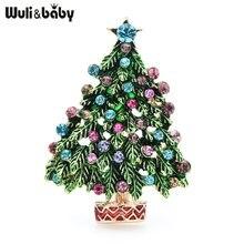 Wuli & bebê verde esmalte broches árvore de natal feminino festa causal escritório broche pins presentes