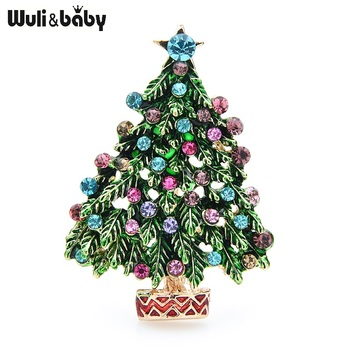 Wuli&baby Green Enamel Tree Brooches Women Men Christmas Tree Party Causal Office Brooch Pins Gifts