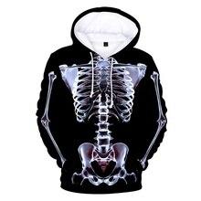 European And American Halloween Unisex Personality 3D Digital Printing Hooded Sweatshirt Velvet Plus Size 4XL