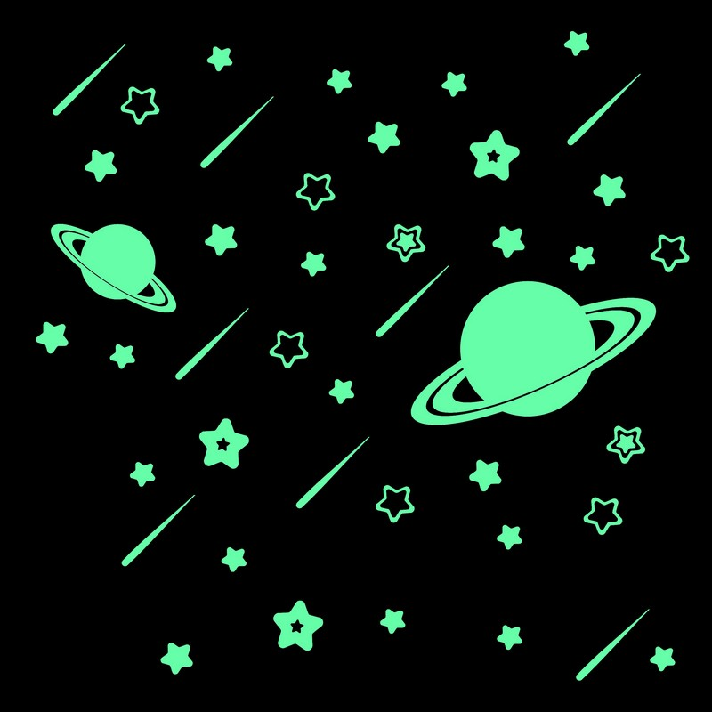 Fluorescent Meteor Stars Glow In The Dark Wall Stickers Cartoon Astronomy Luminous Stickers Kids Rooms Ceiling Decoration Decals