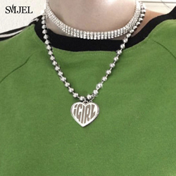 iGIRL Jewelry Fashion Igirl Letter Heart Necklaces for Women Stainless Steel Strand Chain Necklace Cool Girls Gift Punk collier