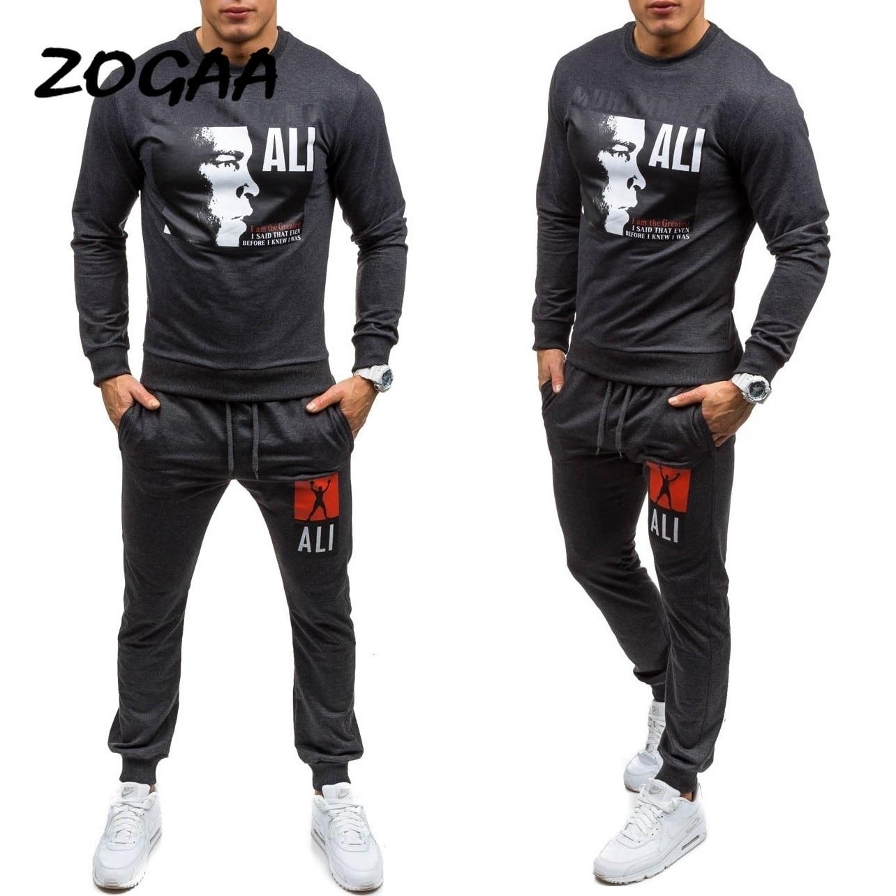 ZOGAA 2020 HOT SALE Men Tracksuit Set Solid Sweat Suit Men Track Suits Set Coat+Pants Outwear Sports Suit Jacket And Sweat Pant
