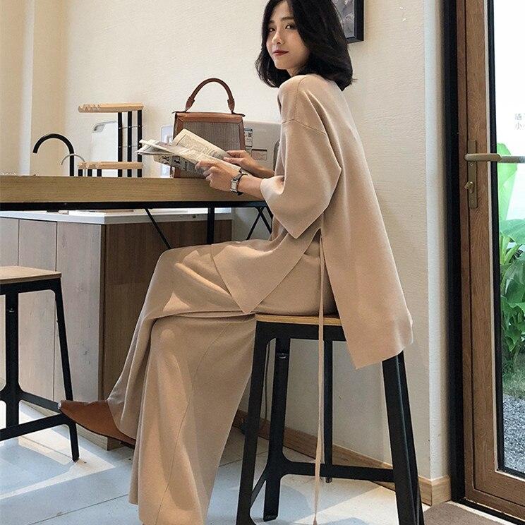 Autumn Women Two Piece Set 2019 Office Lady Wide Leg Pants Women Suit Vintage V-neck Sweater +High Waist Knitted Wide Leg Pants