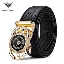 WilliamPolo Echtem leder Marke Gürtel Männer Top Qualität Echtes Luxus Leder Gürtel für Männer Strap Männlichen Metall Automatische Schnalle