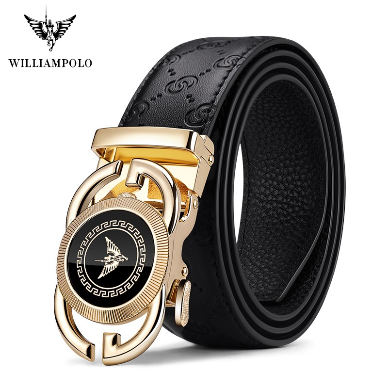 WilliamPolo Genuine Leather Brand Belt Men Top Quality Genuine Luxury Leather Belts For Men Strap Male Metal Automatic Buckle