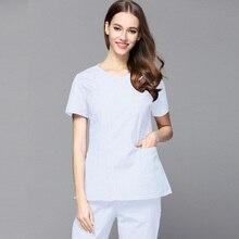 Plug Size Women Slim Fit Medical Clothing Hidden Zipper Opening front Scrub set round collar short sleeve doctor nurse Veterinar