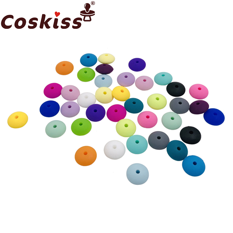 Coskiss 40pc 12.5mm Food Grade Silicone Beads Abacus Lentil Bead Silicone Teether Toy Diy Chew Saucer Loose Beads Baby Teether