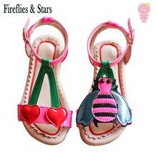 Sandales dété pour filles, chaussures de plage pour bébés, enfants, en cuir verni, motif cerise abeille, de 1 à 8 ans