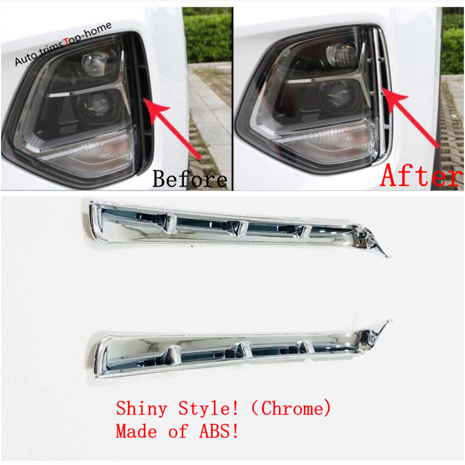 Yimaautotrims Front Head Fog Lights Foglight Lamp Eyelid Eyebrow Cover Trim Fit For <font><b>Hyundai</b></font> <font><b>Santa</b></font> <font><b>Fe</b></font> <font><b>2019</b></font> 2020 Chromium Styling image