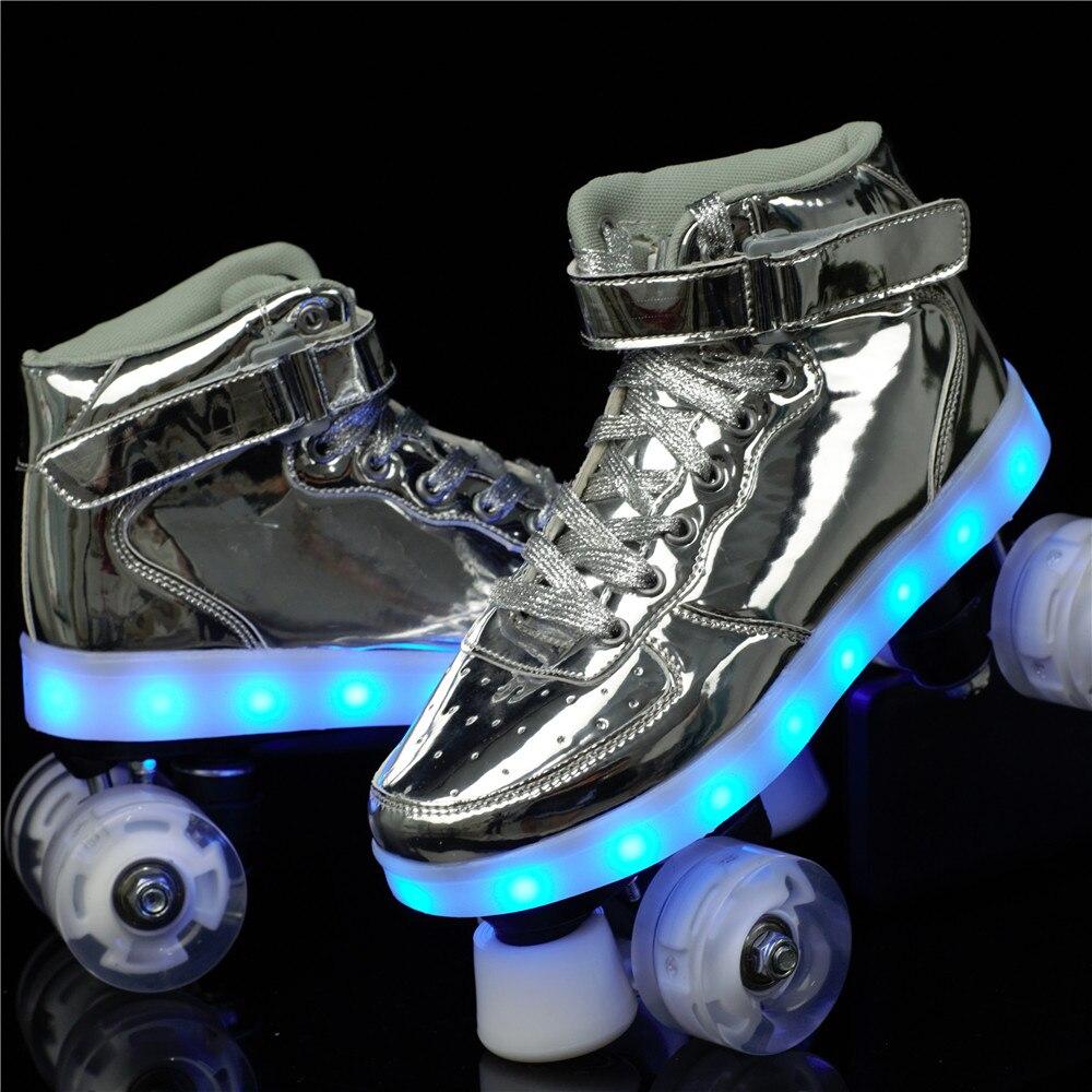 2020 nouveau Flash Skate adulte Double rangée poulie chaussures hommes femmes 4 roues PU enfants lumineux patins à roulettes - 3