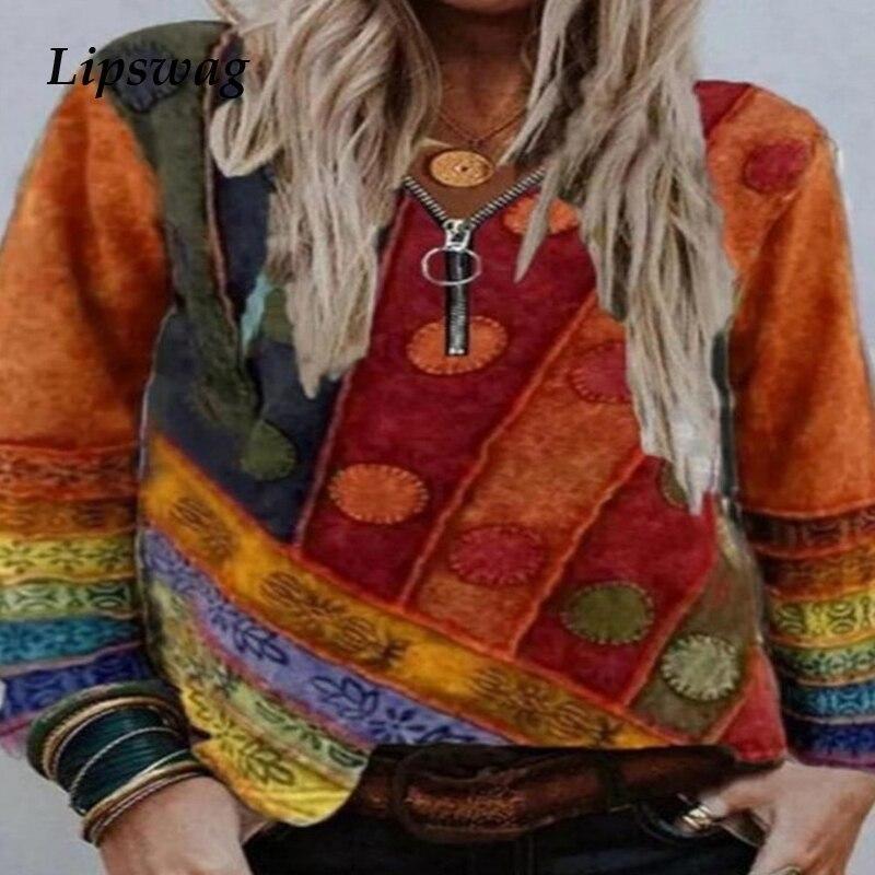 Повседневная Блузка с длинным рукавом и цветным блочным принтом, Женская Осенняя Сексуальная блуза с v-образным вырезом, пуловер, блузки, то...