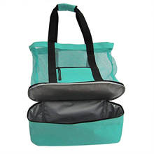 2021 New Large Capacity  Insulation Beach Bag with Uniform Mesh Smooth Zipper Portable Fresh-keeping Organizer Two Colors