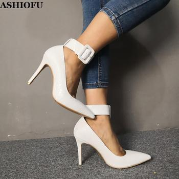 ASHIOFU Handmade Ladies High Heel Pumps Real Photos Buckle Strap Pleated Leather Party Dress Shoes Evening Fashion Court Shoes