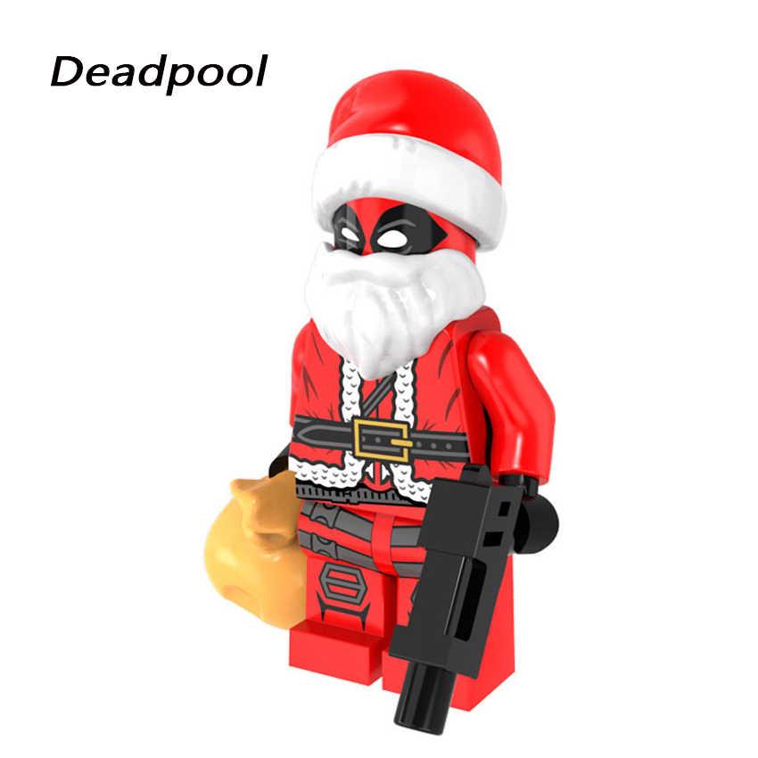 Figuras navideñas de Halloween Santa Claus Grinch Joker Deadpool Darth Vader Harley Quinn bloques de construcción de ladrillos para niños