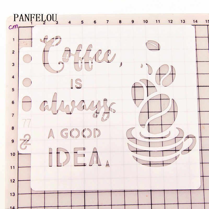 Idea de las plantillas de álbum de recortes de café espray plastic mold shield DIY pastel hueco adorno Impresión de encaje Regla de san valentín